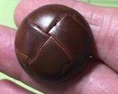 4 Medium Brown Vintage Leather buttons, Special Order /Jan