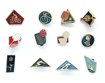 Sports, Badge, Kinds of sport, Summer, Winter, Set, Pin, Soviet Vintage metal collectible pins, Soviet Union, Made in USSR