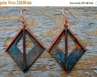 XMASINJULY Copper Earrings - Statement Earrings - Patina Earrings - Geometric Earrings - Geometric Jewelry - Large Earrings - Dangle Earring