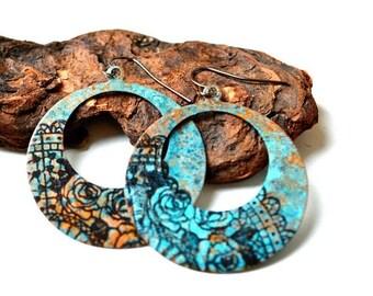 XMASINJULY Patina copper earrings, hoop earrings, artisan earrings, blue patina, rustic earrings, copper earrings, modern earrings, boho sty