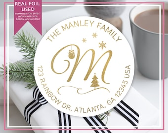 Personalized Foiled Return Address Labels - Stickers - Single Monogram with Christmas - Holiday Scene - Christmas Card Return Address Labels