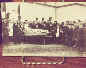 Real Photo Postcard, Eastern European, Outdoor Funeral and Mourners