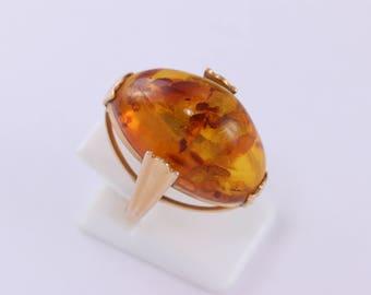 Vintage Soviet Rose Gold Ring 14K 583 AMBER Size 7 (17 mm) Russian USSR