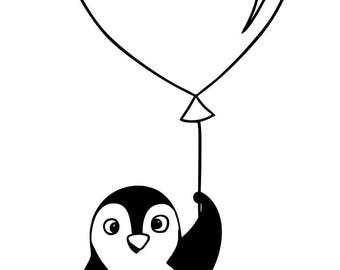 Wooden Penguin balloon heart stamp