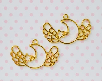 43mm Golden Kawaii Winged Crescent Moon and Star Bezel Pendant Charm - set of 2