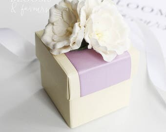 Elegant Ivory/Cream with Lilac ribbon and White Flowers Favor/Favour Box for Wedding/Party
