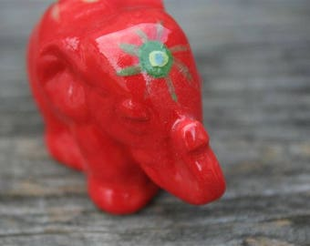 Elephant painted red shiny
