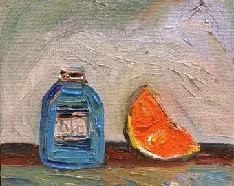 Original oil painting - Orange slice and blue bottle ,Still life Impressionism