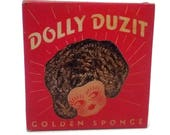 Dolly Duzit Curly Wire Pot Scrubber, Dish Scouring Pad Red Retro Kitchen Decor, Kitchen Cleaner, Kitchen Advertising 1940 Housewarming Gift