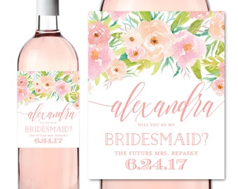 Bridesmaid Wine Labels, Will you be my Bridesmaid, Bridesmaid Wine Bottle Labels, Bridesmaid Maid of Honor Gift, Wine Labels #CL131