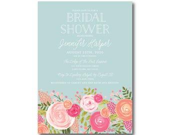 Bridal Shower Invitations, Floral Invitation, Shower Invitations, Floral Bridal Shower Invitations, Printed Bridal Shower Invitations #CL328