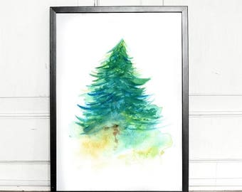 SALE - 25% OFF - Watercolor Spruce tree, giclee art print, evergreen, botanical, wall decor, home decor
