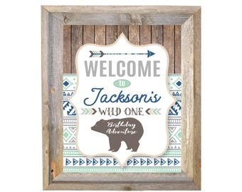 WILD ONE Birthday Welcome Sign / Boy's Birthday Party / Boho Tribal  Welcome Sign, DIY, Printable, Customized / mint, gray, bear