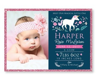 Unicorn Birth Announcement - Photo Baby Girl Announcement - DIY printable digital file - unicorn, woodland flowers, butterflies & glitter