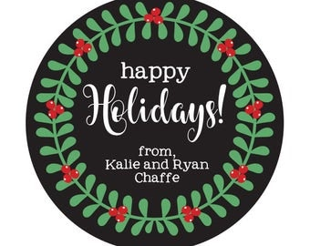 Christmas Stickers, Wreath, Christmas Holiday Labels, Personalized Christmas Labels, Chalkboard Christmas