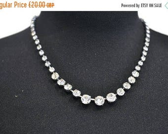 Summer Sale 1950's Rhinestone Necklace // Vintage Sparkly Faux Diamond Necklace // Prom Necklace