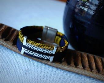 Kente cloth and passing ethnic men's bracelet