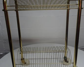 Vintage Mid Century Brass  Metal Wire Rolling Record Stand  FREE SHIPPING