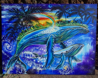 Maui Humpbacks - Embellished Giclee Canvas Print