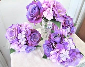 Purple Rose Bridesmaids Wedding Flowers Bouquet And Hydrangea Flower Bouquets
