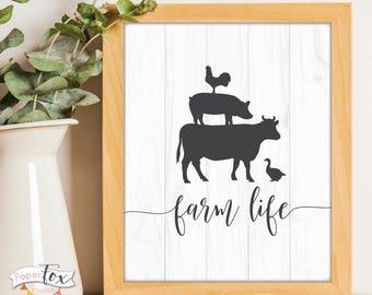 Farmhouse Decor, Farmhouse Sign, Farmhouse Print, Farm Life Print, Kitchen Art, Rustic Wall Decor, Farm House Style, Digital Art Print