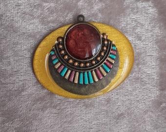 Yellow summer multicolor wooden resin ethnic spirit, handmade pendant