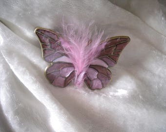 soft pink embellishment Butterfly cabochon / plum Butterfly feather