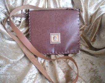 shoulder leather Messenger bag, Brown autumn, handmade creation, OOAK
