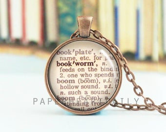 Bookworm Necklace - Bookworm for Her - Dictionary Word Necklace - Reader Necklace - Librarian - Jewelry for Readers -  (B9623)