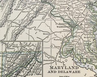 Maryland and Delaware map from 1935