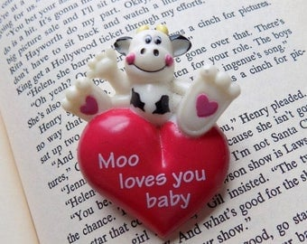 80s Cow Brooch Moo Loves You Baby Valentines Day Jewelry
