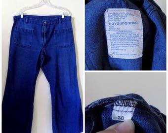 60s Bell Bottoms, Navdungaree, US Navy, Military, 3 Pocket, 1960s, Bell Bottom, Flare Jeans, size W38 L40, Denim, Jeans, Mens Vintage