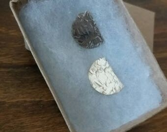 Hammered sterling silver shield studs