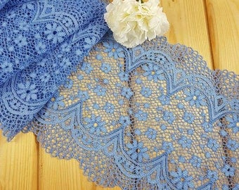 Light Blue 21 cm wide Crochet Look Stretch lace by the meter