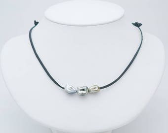 Mana Triple Tahitian keshi pearl and leather necklace