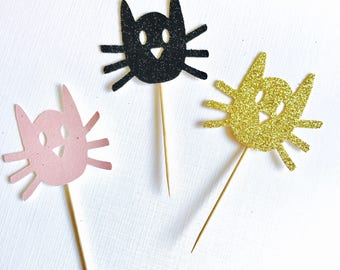 Cat head cupcake toppers/ Cat Toppers/ Cat Party Toppers/Meow/ set of 12