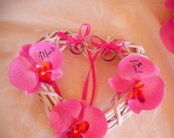 Wedding white, pink artificial orchids Wicker woven openwork customize heart ring