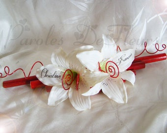 Wearing red and white wedding ring, bamboo, diamonds and artificial customize Lily