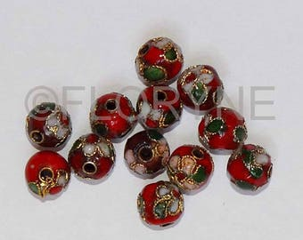 10 Chinese cloisonne Red 8Mm round beads