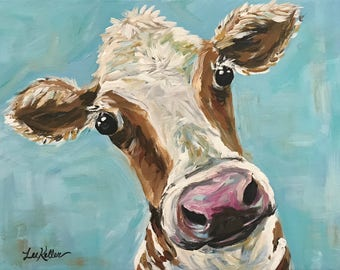 Cow art, cow decor Cow print  from original cow painting on canvas.