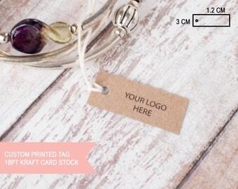 Custom printed 18pt kraft card stock small jewelry tag