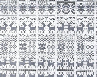 "Gray Nordic Christmas Tissue Paper # 863 / Gift Paper .... 10 Large Sheets .... 20"" x 30"" ... Reindeer, Snowflake"