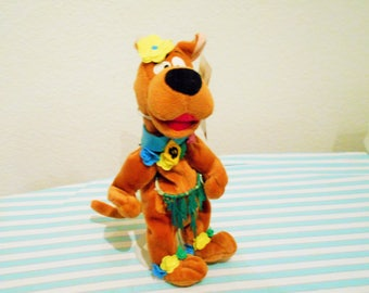 "Warner Brothers ""Hula Scooby"" Dressed in a Grass Skirt With Flowers on His Ankles/Special Hawaii Tag/So Cute In His Island Costume!"