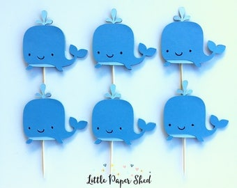 Handmade Cupcake Toppers - Whale Theme x12