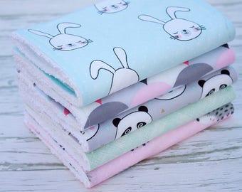 Baby Burp Cloths Set of 5, Baby Gift, Baby Shower, Newborn Burp Cloths, Baby Burpcloths, Animal Burp Cloths, Bibs and Burping