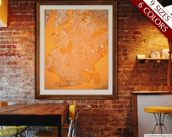 "Brooklyn map, Map of Brooklyn NY, 6 colors, 9 sizes up to 72x90"" XXL Brooklyn NYC art map in 1 piece or 6 parts - Limited Edition of 100"