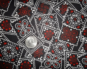 Black White Red Cotton Bandana Bandanna style Quilting Fabric by the yard BTY