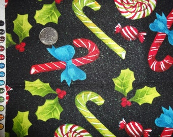 Christmas Candy Cane Peppermint Glitter Black Red JoAnn Cotton Quilt Fabric BTY
