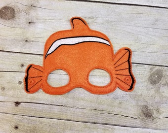 Felt Mask, Childs Mask, Clown Fish Mask, Pretend Play, Costume Accessories, Halloween Mask, Dress Up, Role Play, Birthday Party Favor, Felt
