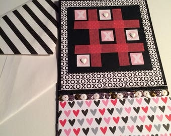 Handmade, Love Card, A2, Black, White, Pink, Grey, XOXO, Tic-Tac-Toe Love Card, Game Card, I Love You Card, Sweetheart Card, Sequins, Hearts